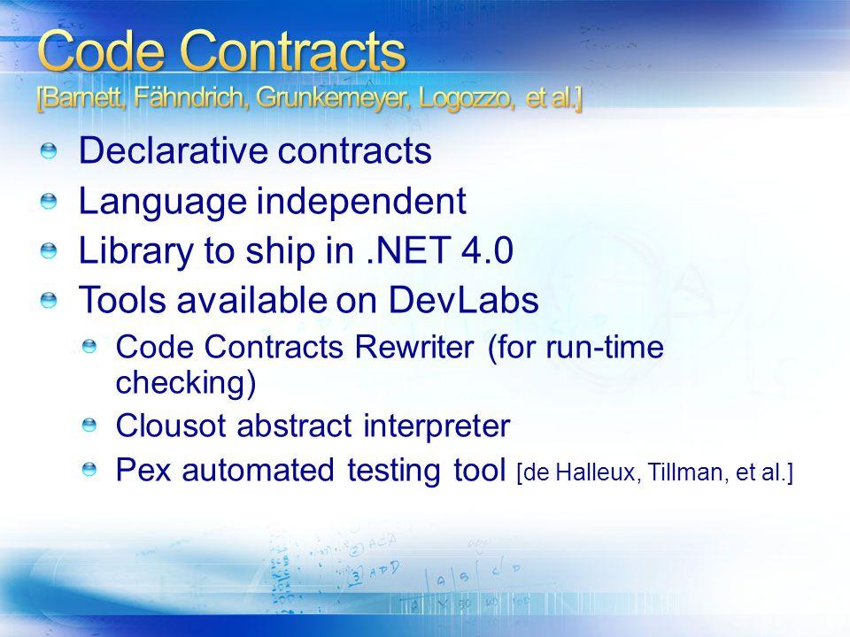 Code Contracts [Barnett, Fähndrich, Grunkemeyer, Logozzo, et al.]